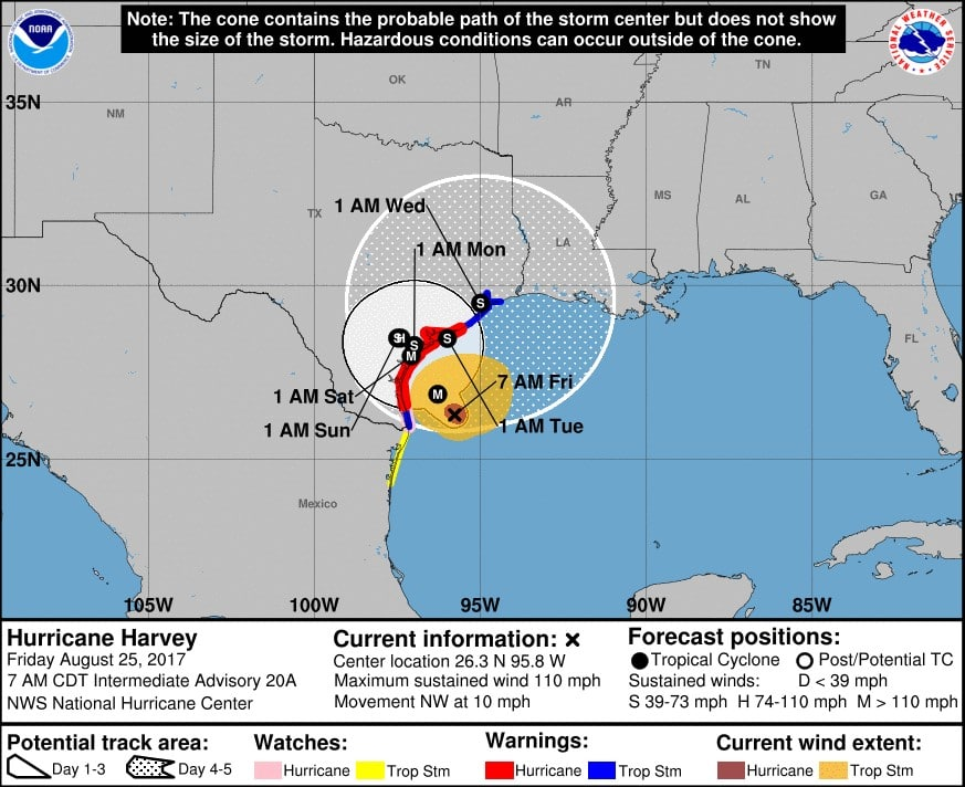 Hurricane Harvey Path Logistics